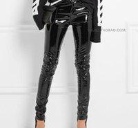 Fashion Patent Leather PU Spodnie z kieszeni Kobiet 2021 Zima Był cienką wysoką talią Wypoczynek błyszczący PU skórzane spodnie ołówek WJ1612