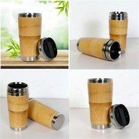 Taza de café de bambú de bambú de acero innoxidable Materia prima Tazas de agua con tapa de vehículo Copa conveniente fácil de usar y exterior 26 8JFH1