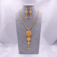 Set di gioielli 18 carati Gold Gold Arabia Collana Collana Pendente orecchino per le donne Dubai indiano Dubai africano festa nuziale regali da sposa set