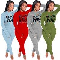 1SET / DROP SOPPURE Женщины черные девушки рок-буквы трексуита 2021 весенние мода наряды две части одежда футболка блузка леггинсы костюм E122407