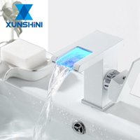 Bathroom Sink Faucets XUNSHINI LED Waterfall Faucet RGB Color Change And Cold Basin Brass Mixer Tap Toilet Taps1