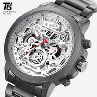 Cintura T5 da uomo, timer di quarzo nero di lusso, sport, impermeabile, braccialetto, abbigliamento da uomo