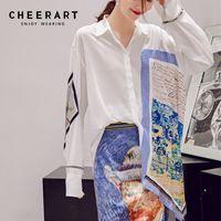 CHEERART Designer Autumn Women Fashion Long Sleeve Shirt Print Patchwork Asymmetrical Top And Blouses Femme White