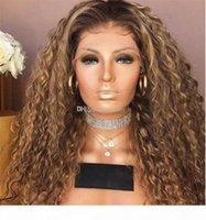 Jedwabny Top Pełna Koronka Dziewicza Peruka Ludzkie Włosy Z Baby Włosy 100% Nieprzetworzone Remy Długi Ombre Kolor Duży Kręcone Niedrogie dla Kobiet