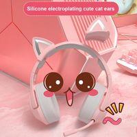 سماعات الرأس سماعات الوردي السلكية لعبة القط الأذن سماعة مع ميكروفون هيفي 7.1 قناة الموسيقى ألعاب الكمبيوتر المحمول
