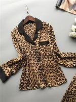 Lisacmvvnel primavera nuevo manga larga pijamas mujer hielo seda moda leopardo impresión sexy pijama conjunto 201133