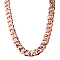 Curb Cuban Link Rose Gold Color Stainless Steel Miami Chain ...