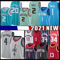Lamelo 2 Ball Gordon 20 Hayward 13 Harden John 1 Wand Basketball Jersey Hakeem 34 Olajuwon Russell 4 Westbrook Trikots