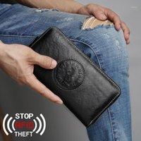 Anti-furto RFID Protezione della carta Portafoglio Uomo Uomo Bovina in pelle Bovina Cassa del telefono Clutch Bank Holders Zipper Pocket Bag1