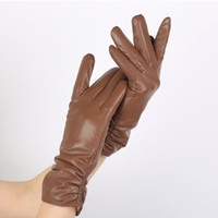 Classic Pleated Leather Gloves, Women' s Color Real Cowh...