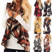 إمرأة حار بيع الشتاء الأزياء سترة منقوشة أكمام التلبيب المفتوحة الجبهة سترة شيربا سترة جيوب الإناث السترات