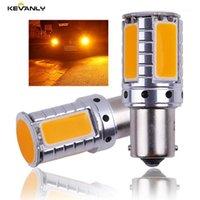 Acil Durum Işıkları 2 adet Canbus 12 V-24 V P21W BA15S BAU15S PY21W S25 1156 COB LED Araba Yedekleme Rezerv Işık Dönüş Sinyali Gündüz Amber1