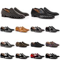Homens sapatos de couro sapatilhas vermelhas fundo baixo corte cravejado spikes vestido sapato designer luxo mens instrutor