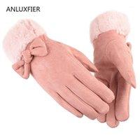 خمسة أصابع قفازات h9905 النساء الخريف الشتاء الجلد المدبوغ الحراري القفازات الإناث دافئ سميكة شاشة اللمس أفخم المعصم بسيط أزياء اليد muff1