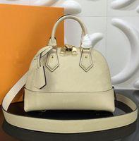 25 см NEW ALMA BB SHELL SHOOL Сумка Высококачественная тиснение Натуральная кожаные сумки Классические Женщины Известный Бренд Дизайнерские Сумки Улучшить Сумку 44829