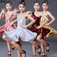 Vestido latin cosplay traje para bebê meninas palco performance dança de baile desgaste um ombro luz cetim competição 2pcs set1