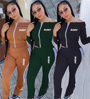 النساء المصممين الملابس خطابات الجسم معطلة الكتف كم طويل زيبر سترات سروال التطريز قطعتين تتسابق الدعاوى الرياضة D102805