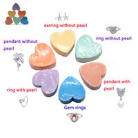 38 g de bombas de baño de corazón con 925 anillo de pendiente colgante de plata esterlina dentro de aceite esencial hecho a mano bola de regalo para mujer niña