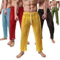 Erkek Pijama Bornoz Nightgown Boş Zaman Ev Ağları Seksi Şeffaf Pantolon Toptan (Külot dahil) 201109