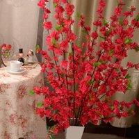 장식 꽃 화환 50inch 인공 체리 봄 매화 복숭아 꽃 지점 실크 꽃 나무 장식 1