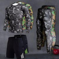Gli uomini di compressione Esecuzione Imposta fitness stretto manica lunga Sport maglietta Formazione jogging Camicie rashgard Gym Sportswear Quick Dry