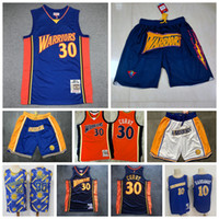 Vintage Mens Stephen Curry Mitchell Ness 2009-2010 Jersey apenas Don Shorts Golden 30 State Stephen Curry 10 Tim Hardowaway Basketball Jerseys