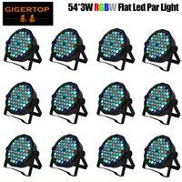 رخيصة الثمن 12XLot حار بيع قاد الاسمية المرحلة DJ أضواء 54PCS 3W RGBW الرئيسية ديسكو حزب ستروب DMX512 شقة الإضاءة المهنية