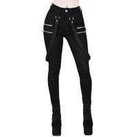 Alta cintura para mujer Black Skinny Beltwear Streetwear mujer Largo Vintage Lápiz Pantalones Punk Gothic Pantalones Juggers