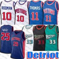 Derrick 25 Basketbol Gül Formaları Detroits Jersey Retro Grant 33 Hill Isiah 11 Thomas Jersey Dennis 10 Rodman Üniforma