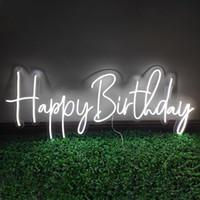"""""""Mutlu doğum günü"""" kelime işareti diğer renkler özelleştirilebilir düğün süslemeleri duvar dekorasyon led neon ışık 12 v süper parlak olabilir"""