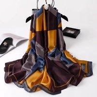 2020 новых женщин типа популярного пляжа Глушитель фарфор шелк мода осень и зима хорошего цветка шарфов Обертывание хиджаба леди печать шаль