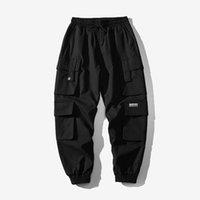 Hommes Black Broderie Joggers Pantalons de Cargo Streetwear Pantalon de cargaison Santé de poche mâle Pantalon de survêtement gris tactique plus taille