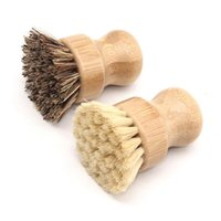 Portable Wooden Cleaning Brush Round Handle Pot Brush Sisal ...