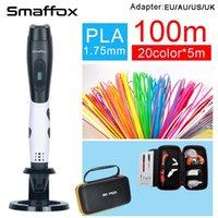 Caneta 3D Smaffox + 100meter PLA Filamento DIY desenho caneta com visor lcd caneta de impressão 3d caneta ajustável velocidade 201214