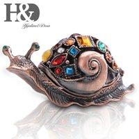 HD Gem Jeweled Caracol Figurine Caixas de América Artilheira Esmalte Animal Jóias Colecionáveis Caixa De Natal Decoração Ornamento Para Home T200710