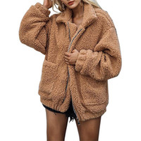 Damen Pelz Faux 2021 Winter Ankunft Frauen Mode Flauschige Warme Mantel Dame Teddy Mäntel Shaggy Jacke Reißverschluss Outwear Jacken PC306