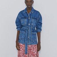 ZXQB Denim Ceket Kadın Moda Chic Kravat Kemer Bel Mont Kadınlar Zarif Dönüş Yaka Düğme Ceketler Kadın Giyim Y200101