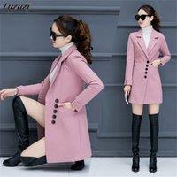 Лузузи женские шерстяные шерстяные пальто корейской версии 2021 новая осень и зима мода тонкий длинный шерстяной пальто зимние шерстяные куртки женщины 201222