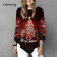 Las mujeres Árbol de Navidad de impresión camisa de la blusa de manga larga Otoño Invierno Navidad Pullover superior ocasional de gran tamaño 3/4 mangas Blusa 5XL