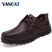 Vancat Echtes Leder Warme Männer Stiefel Große Größe 48 Mode Winterstiefel, bequeme Knöchelstiefel Männer Schuhe, Qualität Schneeschuhe 201127