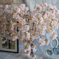 7pcs / lot Natural Vertical Silk Cherry Blossom Flower Vine FAI DA TE Matrimonio Decorazioni natalizie Ciliegio Fiore artificiale Bouquet di fiori artificiali 92cm 201127