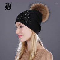 Cappellini del berretto / cranio [fb) cappello invernale per le donne pelliccia lana lana maglia beanies real pom poms rhinestone skullies ragazze caps1