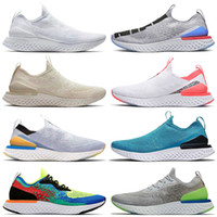 epic nike react fly knic flyknit EPIC Reagir Fly Knit 1,0 2,0 Trainers TODO O BRANCO Pewter Rosa Tênis Running Shoes Royal Green amarelo pálido Trainers Outdoor Runner