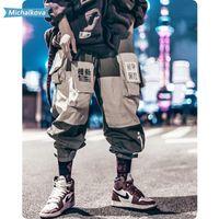 Vêtements homme Patchwork poches Pantalon cargo hommes Harajuku Hip Hop Sweatpant Homme Joggers piste Pantalon Streetwear de Michálková 201110