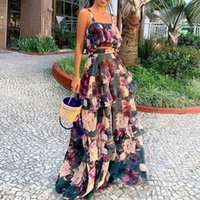 Two Piece Sets Summer Sleeve Crop Top + Ruffle Layered Skirt Retro Floral Print Women Sets Boho Maxi Casual Suits Purple Dress