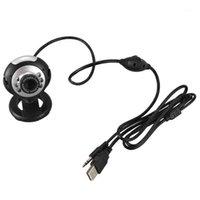 Webcams USB 6 LED Camera de Vision Nocturne PC Webcam Réseau AVEC Microfone Despeje MSN ICQ AIM Réunion Skype Net, Noir1