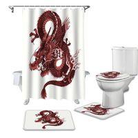 Tende da doccia Asian Rosso Angry Dragon Angry Dragon Tenda per Bagno Bagno Set di copertura della toilette Tappetino antiscivolo Tappeto da bagno Set