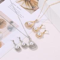 Boucles d'oreilles perles artificielles de type gouttelettes creusées en strass collier goujons de l'oreille deux pièces Set Dame mariée Accessoires 3 3JD P2