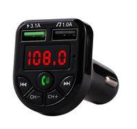 FM Adapter Bluetooth Автомобильное зарядное устройство FM-передатчик с двойным USB-адаптером Handfree MP3-плеер Поддержка TF Card для iPhone Samsung Universa