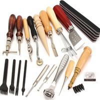 Conjuntos de ferramentas de mão profissional 18 pcs couro artesanato perfurador ferramentas kit de costura costurando trabalho de escultura groover leathercraft